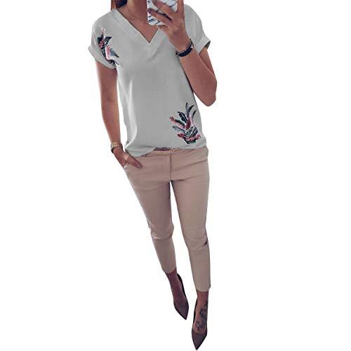 V White Manga Camisetas Gráfico De Causal Cuello Con Camiseta Tops Corta Floral En Estampado Verano qA6aIa