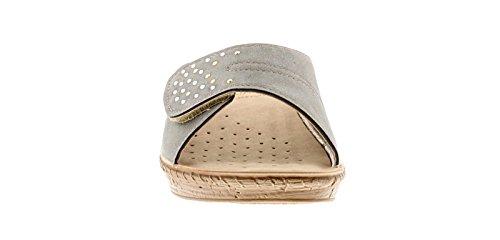 INBLU Damen Einfach Schlupfsandale Style Sandale mit Klettverschluss Ober Weich Gepolstert Nubukleder Effekt Innensohle und Niedrig Keilabsatz für Zusätzlichen Komfort Verstellbar zu