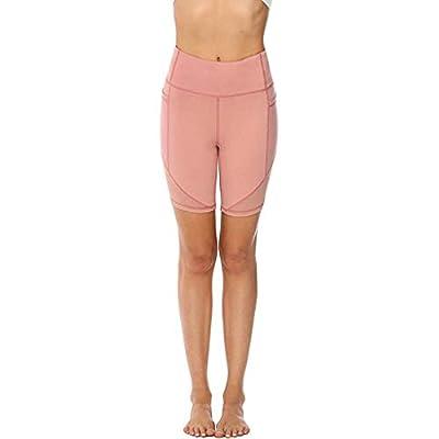 HIRIRI Women Yoga Shorts Side Pockets High Waist Workout Athletic Mesh Pants Indoor Exercise: Clothing