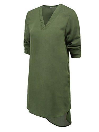 WanYang De La Gasa De Las Mujeres Con Cuello En V Manga Larga Verde Del Vestido De Noche Mini Vestido Ocasional Del Verde del ejército