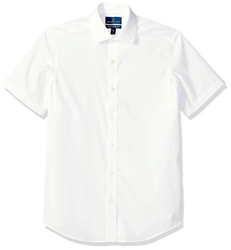 BUTTONED DOWN Men's Tailored Fit Stretch Spread-Collar Short-Sleeve Non-Iron Shirt, White, 16.5