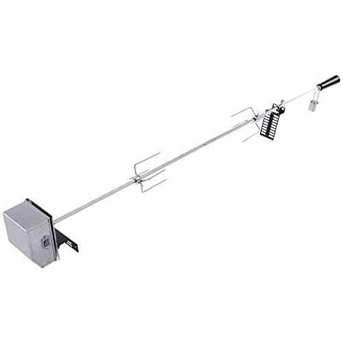 """Giantex Universal BBQ Rotisserie Motor Kit Stainless Steel Heavy Duty Open Fire Spit for Most Burner Grills 47"""" Square Spit Rod On/Off Switch Deluxe Electric Grill Rotisseries Kit"""