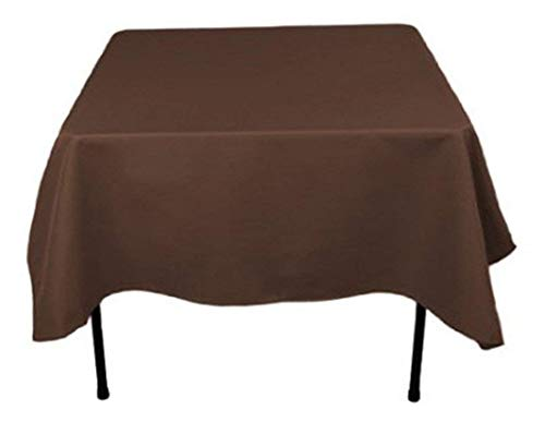 Morlan Linens Tablecloth for Square Tables 2 Pack - 100% Polyester - Restaurant Quality - Great for Buffet Tables, Parties, Holiday Dinners, Weddings & More (Brown, 52 x 52)