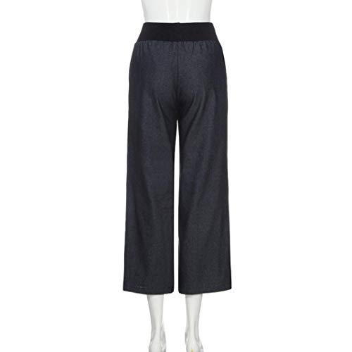 Pantaloni Gamba Sumtter Largo Lungo Jeans Signore Strisce Nero Donne UqO1UgT