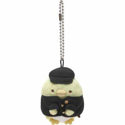San-X Sumikko Gurashi Return Home Penguin Plushy Key Chain (wearing a black uniform) - MR11301