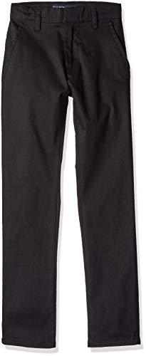 U.S. Polo Assn. Boys' Big Modern Fit Flat Front Stretch Twill Pant, Black, ()