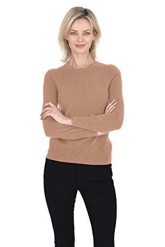 Cashmeren Crew Neck Pullover 100% Cashmere Long Sleeve Sweater for Women (Cammello, Medium)