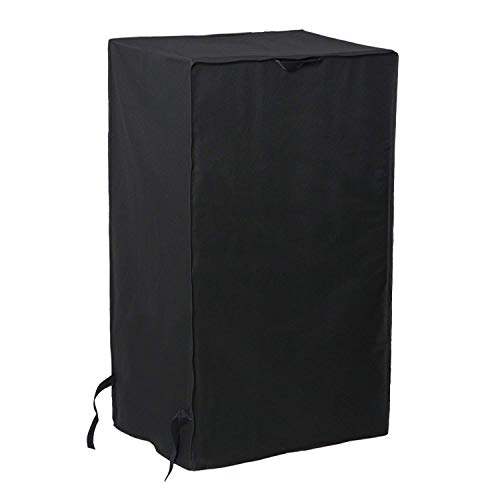 SunPatio Outdoor Smoker Cover 30 Inch, Heavy Duty Waterproof Electric Smoker Covers for New Model Smokers from Masterbuilt, Char-Broil and More, UV and Fade Resistant Square BBQ Grill Cover, Black ()