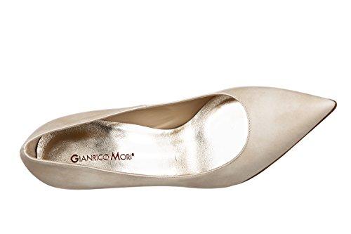 Gianrico Mori, Alyce, Décolléte in vera pelle Made in Italy (45, Perlato Bianco)