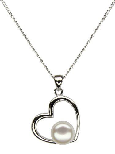 Heart Shape Valentine s Sterling Silver Pendant with Natural Color White Freshwater Cultured Pearl
