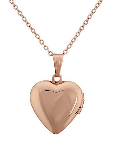 Heart Shape Locket Pendant Necklace Keep Lover Photo with 18-Inches Cable Chain Rose Gold Plating