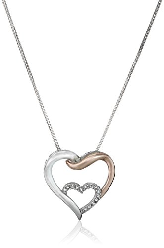 Sterling Silver and 14k Rose Gold Interlocking Heart with Diamond Accent Pendant Necklace, 18'
