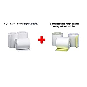 Mixed Paper Roll 25xThermal Paper Roll(3-1/8 x 230 feet) 25x2-ply Carbonless Paper Roll(3 x 95 feet)