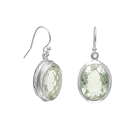 Sterling Silver 12x16mm Oval Green Amethyst French Wire Earrings - Cut Green Amethyst Earrings