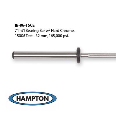7' International Bronze Bushing Bar with Hard Chrome. 1500 lb test – 32 mm – 165,000 psi rating by Hampton Fitness