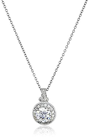 Platinum-Plated Sterling Silver and Swarovski Zirconia Round-Cut Antique Pendant Necklace, 18