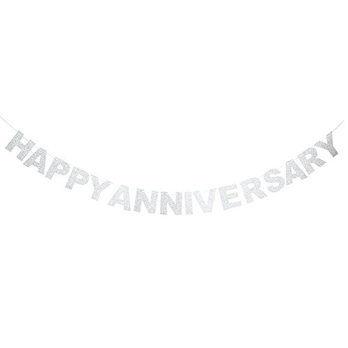 Happy Anniversary Silver Glitter Banner - Wedding Anniversary Party Bunting (Silver)