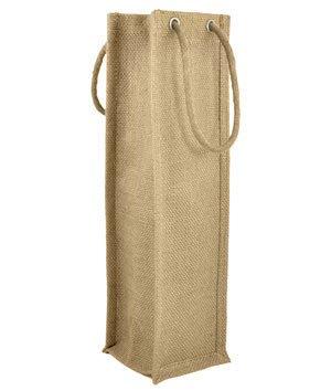 Natural Jute Wine Bags With Rope Handles - 5 Pack