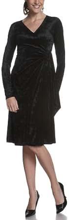 Arianne Women's Alyssa Long Sleeve Cross Over Dress,Black,Small