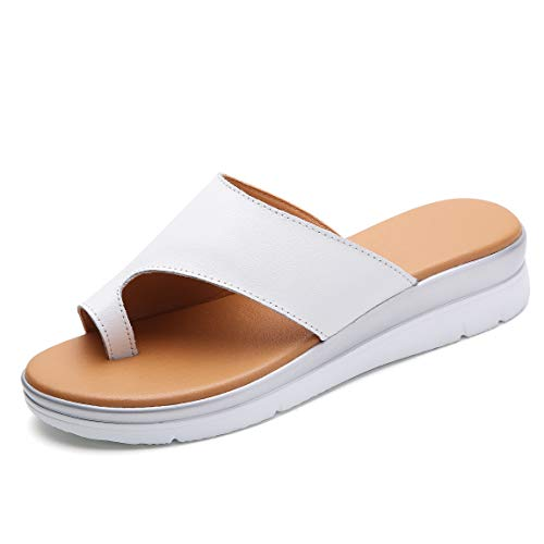 Bunion Sandals for Women Comfy - Bunion Corrector Platform Shoes BSP-2 Genuine Leather Women Flip-Flop Light Weight Ladys Shoes 2019 Size 9.5 White