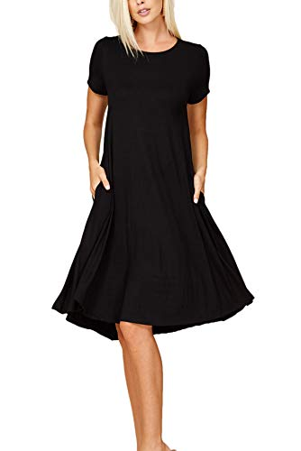Annabelle Women's Comfy Short Sleeve Scoop Neck Swing Dresses with Pockets Large Black D5213