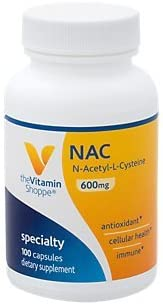 NAC NAcetylLCysteine 600mg Provides Antioxidant Support, Cellular Health Supports Liver Detoxification Once Daily 100 Capsules by The Vitamin Shoppe