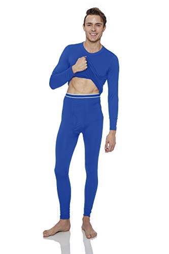 - Rocky Men's 2pc Thermal Underwear, Top & Bottom Fleece Lined Long Johns (Small, Royal Blue)
