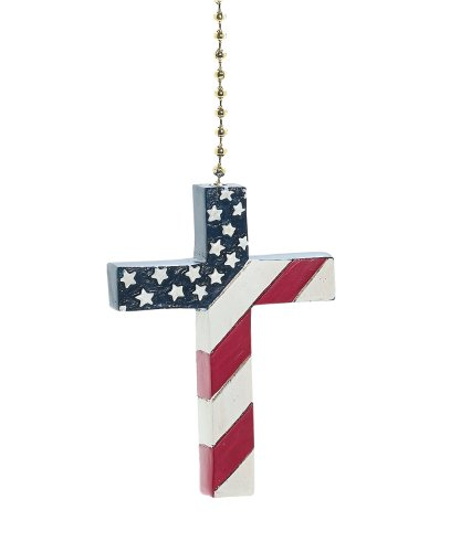 Cross USA American Flag Fan Pull Decorative Light Chain