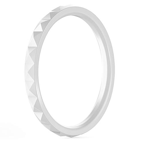- ThunderFit Thin and Stackable Silicone Ring Wedding Band for Women - Diamond Pattern - 1 Ring (White, 5.5-6 (16.5mm))