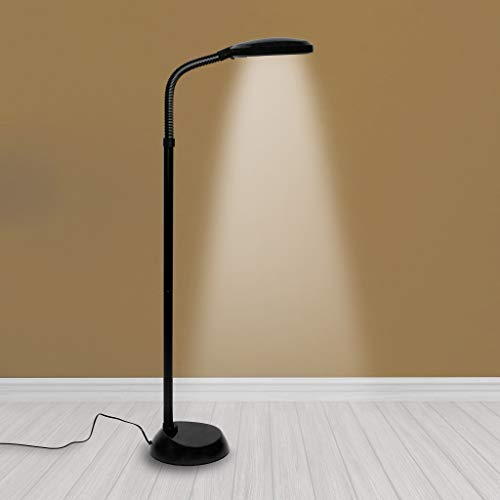 (Kenley Natural Daylight Lamp - Floor Standing Reading Task Light - 27-watt Full Spectrum White Bright Sunlight Torchiere for Living Room, Bedroom or Office - Adjustable Gooseneck Arm - Black)