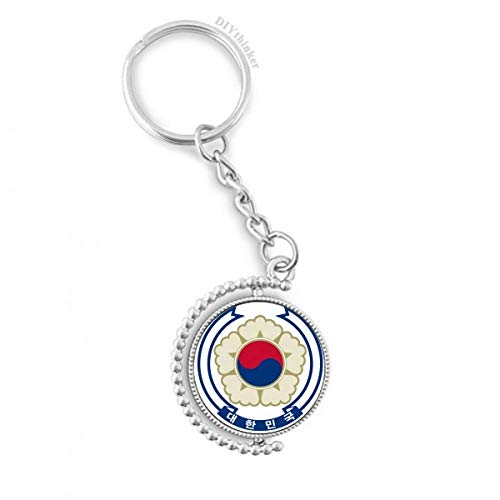 Korea National Emblem Country Rotatable Key Chain Ring Keyholder