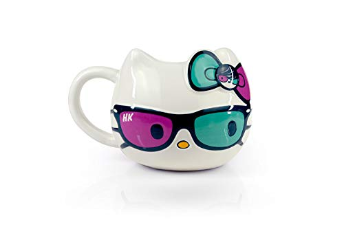 Hello Kitty Ceramic Coffee Mug with Cute Sunglasses and Bow Design – Sanrio – Large 20 oz