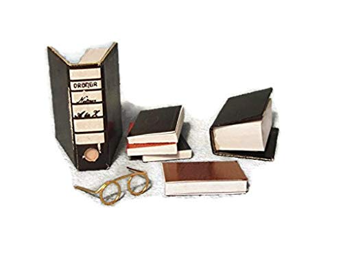 Delightful Set Of 6 Dolls House Miniature Books And Reading Glasses 1/12th Scale