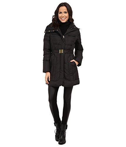 Single Breasted Quilted Jacket - Cole Haan Women's Belted Single Breasted Down Jacket Black XL (US 16-18)