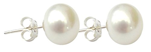 Earring Satin Womens (Large 10mm White Cultured Pearl Silver (925) Stud Earrings)