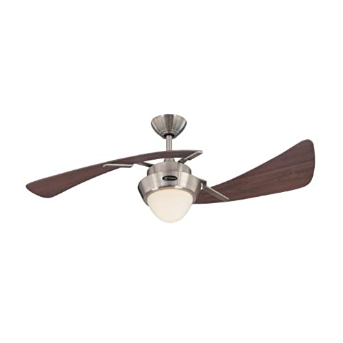 harmony 48inch brushed nickel indoor ceiling fan light kit with opal frosted glass