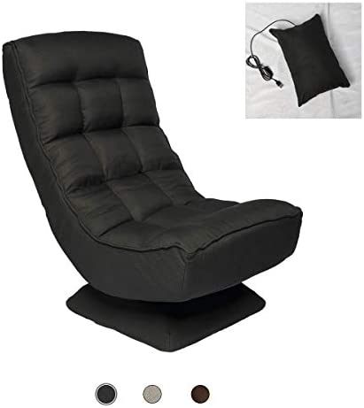 Game Rocking Chair, 360 Degree Rotation,4-Stage Adjustable Floor Chair, Comfortable Soft Backrest,Pillow with Massage Function,Support 330 Pounds,for Rest, Playing Games, Or Reading Books Black