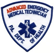 ADVANCED EMERGENCY MEDICAL TECHNICIAN - Red/ Blue - Star of Life - Shoulder - ADV EMT - PA. DEPT. OF HEALTH - Pennsylvania Department of Health - Logo Jacket Uniform Patch Sew Iron on Embroidered
