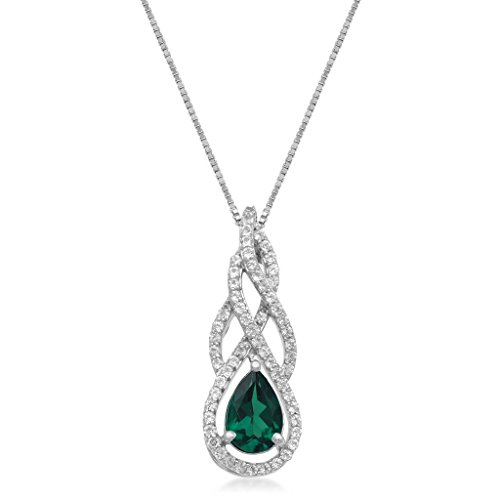 Jewelili Sterling Silver 9x6mm Pear Shaped Created Emerald and Round White Topaz with 1.5mm Round Emerald on Side Swirl Teardrop Pendant Necklace, 18