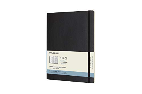 Moleskine Classic 18 Month 2019-2020 Monthly Planner, Soft Cover, XL (7.5