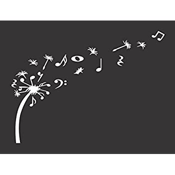 """Dandelion Blowing with Music Notes - Die Cut Vinyl Window Decal/Sticker for Car/Truck 5.5""""x7.5"""""""