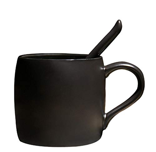 Mug Stars Frosted - High-grade ceramic black matte mark cup with spoon creative simple coffee cup with cover frosted large capacity ceramic cup frosted star eye mug with spoon - black