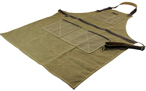 INNO STAGE Tools Apron,Waxed Canvas Work Bib Aprons with Pockets,Full Coverage Utility Apron,Hand Tool Organizers,Gardening Carpentry Lawn Care Accessories for Women and Men by INNO STAGE (Image #8)