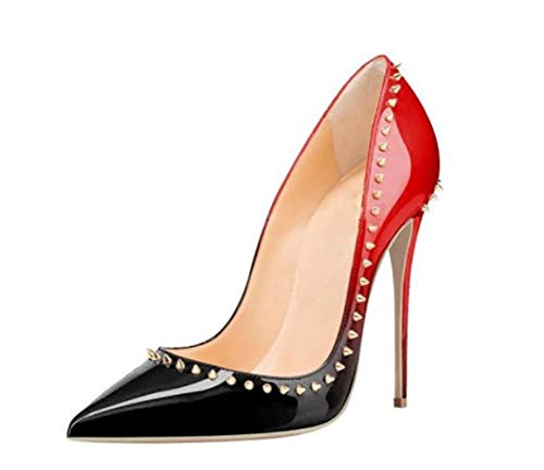 Red Remache De Boda Tamaño Con Gran Womens Fiesta Stiletto Shiney Zapatos Pointed FwqPTP