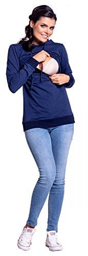 Zeta Ville - Womens breastfeeding top sweatshirt hoodie - nursing panel - 272c (Navy, US 8, L) by Zeta Ville Fashion (Image #3)