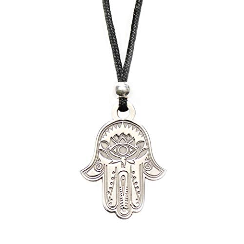 (Hamsa Hand of Fatima Pendant Necklace - Evil Eye Protection Lotus Sterling Silver Charm Jewelry Good Luck Success Amulet Black String Rope Adjustable Friendship Handmade Necklace Men & Women)