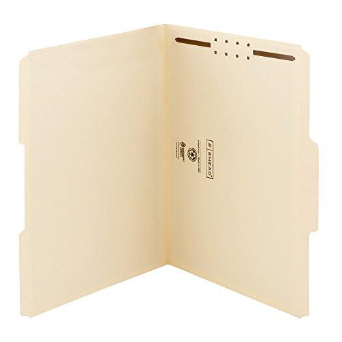 Smead WaterShed/CutLess Fastener File Folder, 1 Fastener, Reinforced 1/3-Cut Tab, Letter Size, Manila, 50 each per Box  (14539) (Manila 1 Fastener)