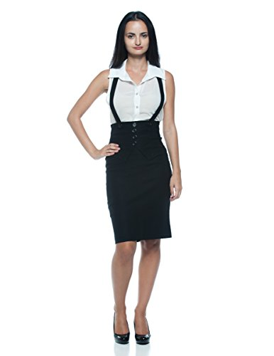 Women's Plus Black High Waist Suspender Halter Work Business Pencil Wiggle Skirt (L/XL)