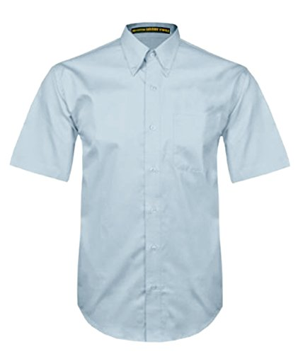 (Tiger Hill Men's Short Sleeve 100% Cotton Premium Twill Shirt Light Blue XX-Large)