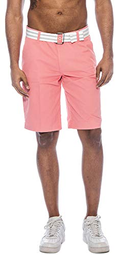 (TR Fashion Men's Bahamas Belted Walking Shorts (Dusty Rose, 36))